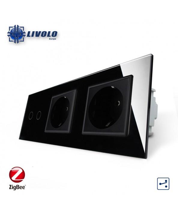 Livolo 2 Gang 2 Way + 2 Sockets - ZigBee