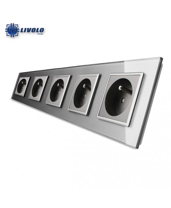 Livolo Wall Power Quintuple French Sockets