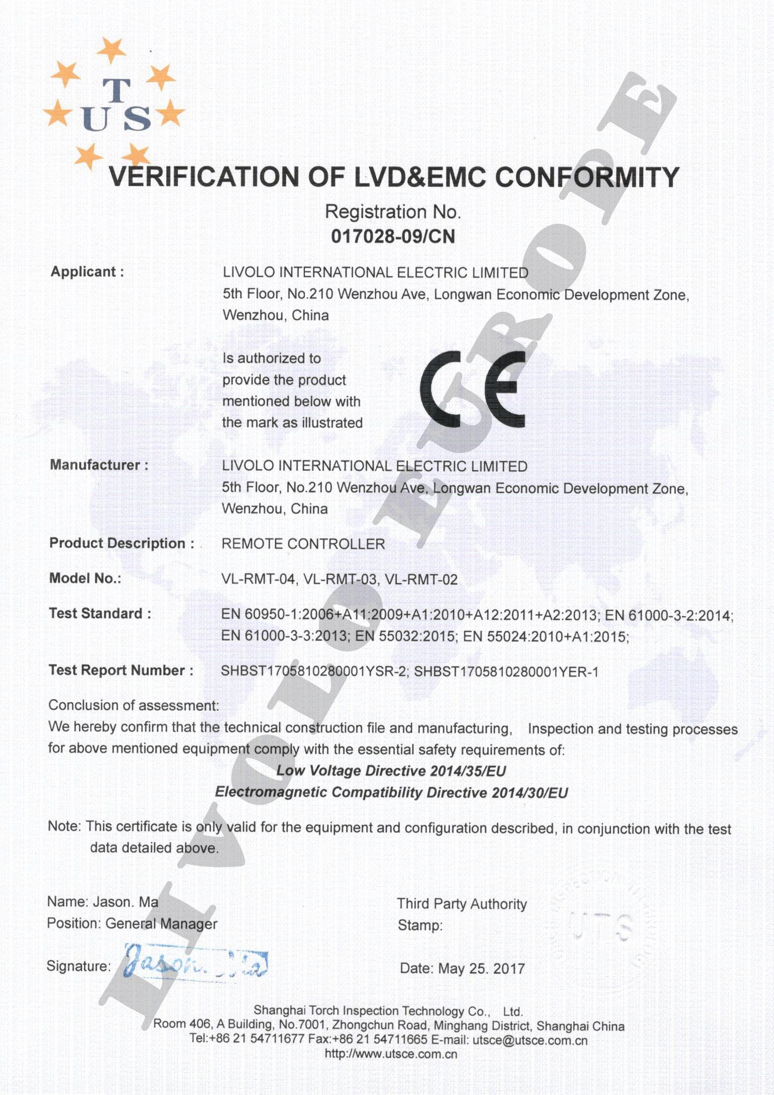 Official Livolo In Europe Livolo Eu Certifications